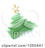 Royalty Free RF Clip Art Illustration Of A 3d Transparent Green Glass Scribble Christmas Tree