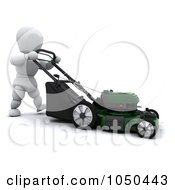 Royalty Free RF Clip Art Illustration Of A 3d White Character Pushing A Lawn Mower by KJ Pargeter
