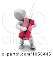 Royalty Free RF Clip Art Illustration Of A 3d White Character Holding A Capacitor by KJ Pargeter
