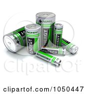 Royalty Free RF Clip Art Illustration Of 3d Green NiMH Batteries