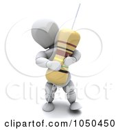Royalty Free RF Clip Art Illustration Of A 3d White Character Holding A Resistor by KJ Pargeter