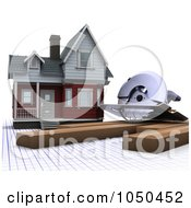 Royalty Free RF Clip Art Illustration Of A 3d House With Lumber And A Power Saw