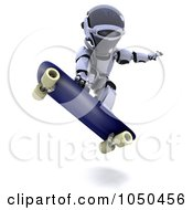 Royalty Free RF Clip Art Illustration Of A 3d Robot Skateboarding 2 by KJ Pargeter