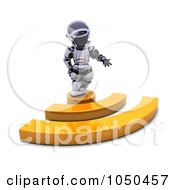 Royalty Free RF Clip Art Illustration Of A 3d Robot Standing On An Rss Symbol