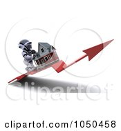 Royalty Free RF Clip Art Illustration Of A 3d Robot Pushing A Home Up An Arro
