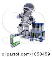 Royalty Free RF Clip Art Illustration Of A 3d Robot Comparing Batteries