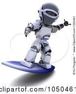 Royalty Free RF Clip Art Illustration Of A 3d Robot Surfing