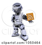 Royalty Free RF Clip Art Illustration Of A 3d Robot Holding An Rss Symbol