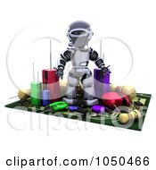 Royalty Free RF Clip Art Illustration Of A 3d Robot Surrounded By Computer Components by KJ Pargeter