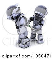 Royalty Free RF Clip Art Illustration Of A 3d Robot Inserting A New Battery In Another Robot