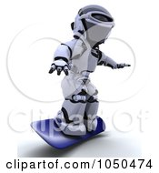 Royalty Free RF Clip Art Illustration Of A 3d Robot Skateboarding 1 by KJ Pargeter