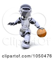 Royalty Free RF Clip Art Illustration Of A 3d Robot Playing Basketball 2 by KJ Pargeter