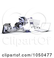 Royalty Free RF Clip Art Illustration Of A 3d Robot Shopping Online by KJ Pargeter