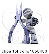 Royalty Free RF Clip Art Illustration Of A 3d Robot With Pliers by KJ Pargeter