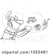 Royalty Free RF Clip Art Illustration Of A Line Art Design Of A Man Shoveling Junk Food Out by toonaday