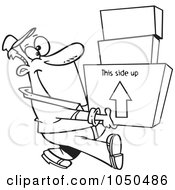 Royalty Free RF Clip Art Illustration Of A Line Art Design Of A Happy Mover Man Carrying Boxes by toonaday