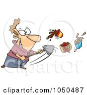 Royalty Free RF Clip Art Illustration Of A Man Shoveling Junk Food Out by toonaday