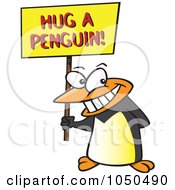 Royalty Free RF Clip Art Illustration Of A Penguin Holding A Hug A Penguin Awareness Sign by toonaday