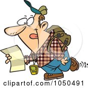 Royalty Free RF Clip Art Illustration Of A Geochaching Guy Holding A Map