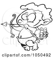 Royalty Free RF Clip Art Illustration Of A Line Art Design Of A Little Cupid Practicing With Arrows by toonaday