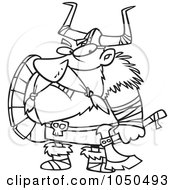 Royalty Free RF Clip Art Illustration Of A Line Art Design Of A Grumpy Viking Holding An Axe And Shield by toonaday
