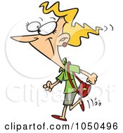 Royalty Free RF Clip Art Illustration Of A Cartoon Woman Heading Out To Shop by toonaday