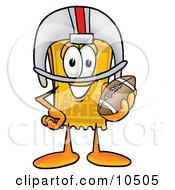 Yellow Admission Ticket Mascot Cartoon Character In A Helmet Holding A Football