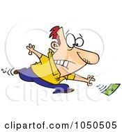 Royalty Free RF Clip Art Illustration Of A Cartoon Man Chasing His Last Dollar by toonaday
