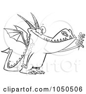 Royalty Free RF Clip Art Illustration Of A Line Art Design Of A Dragon Holding A Flower by toonaday
