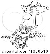 Royalty Free RF Clip Art Illustration Of A Line Art Design Of A Bored Clown On A Unicycle by toonaday