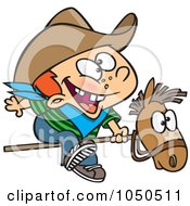 Royalty Free RF Clip Art Illustration Of A Kid Cowboy Riding A Stick Pony by toonaday