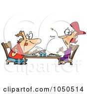 Royalty Free RF Clip Art Illustration Of A Cartoon Man Flicking A Pea At His Wife Over Dinner by toonaday