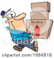 Royalty Free RF Clip Art Illustration Of A Happy Mover Man Carrying Boxes by toonaday
