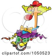Royalty Free RF Clip Art Illustration Of A Bored Clown On A Unicycle by toonaday