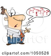 Royalty Free RF Clip Art Illustration Of A Confused Businessman Questioning