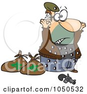 Royalty Free RF Clip Art Illustration Of A Surrendering Bank Robber Riddled With Holes