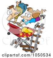 Royalty Free RF Clip Art Illustration Of A Couple Hitting Ups And Downs On A Roller Coaster by Ron Leishman