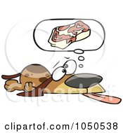 Royalty Free RF Clip Art Illustration Of A Basset Hound Hoping For Steak