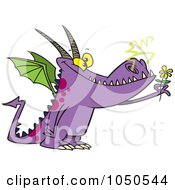 Royalty Free RF Clip Art Illustration Of A Dragon Holding A Flower by toonaday
