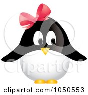 Royalty Free RF Clip Art Illustration Of A Female Penguin Wearing A Pink Bow by Pams Clipart