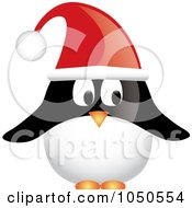 Christmas Penguin Wearing A Santa Hat