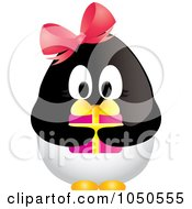 Royalty Free RF Clip Art Illustration Of A Female Christmas Penguin Holding A Gift