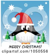 Penguin Wearing A Santa Hat Over Merry Christmas Text