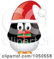 Royalty Free RF Clip Art Illustration Of A Male Christmas Penguin Holding A Gift