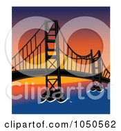 Royalty Free RF Clip Art Illustration Of The Golden Gate Bridge San Francisco At Sunset by Pams Clipart