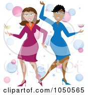 Royalty Free RF Clip Art Illustration Of Funky Black And White Women Dancing With Cocktails