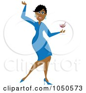 Royalty Free RF Clip Art Illustration Of A Funky Black Woman Dancing With A Cocktail