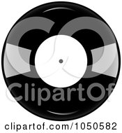 Royalty Free RF Clip Art Illustration Of A Black And White Vinyl Record Album by Pams Clipart