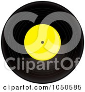 Royalty Free RF Clip Art Illustration Of A Black And Yellow Vinyl Record Album by Pams Clipart