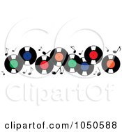 Royalty Free RF Clip Art Illustration Of A Horizontal Banner Of Record Albums And Music Notes by Pams Clipart
